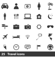 25 traveling icons set vector image