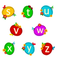 alphabet oval from S to Z vector image