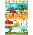 Children and animals on the farm vector image