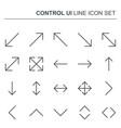 control ui thin line arrows icons vector image