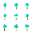 flat of tree set style vector image