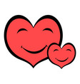 smiling heart faces icon icon cartoon vector image vector image