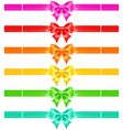 Bows with ribbons of warm colors vector image