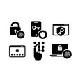 authentication icons set 01 in black and white vector image