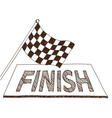 Checkered flag and finish drawing vector image
