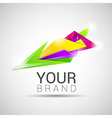 Creative colorful abstract triangles logo design vector image