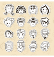 Hand drawn different funny faces Doodle avatars vector image