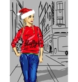 Santa girl for your design vector image