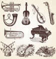 Vintage pack of musical instruments vector image