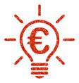 euro idea bulb icon grunge watermark vector image