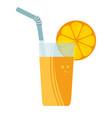 orange juice fruit glass icon vector image