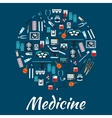 Medical icons and symbols placard vector image