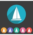 Sail boat yacht icon flat web sign symbol logo vector image