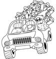 Santa Claus driving car with Christmas gifts vector image