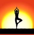 yoga vricshasana pose black silhouette on sunset vector image