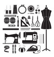 sewing kit icons set monochrome vector image