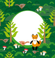 Fox background green forest with fir trees vector image
