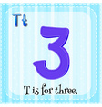 Flashcard of T is for three vector image