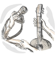Barter swapping hands with camera and guitar vector image