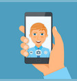 handsome young man boy takes selfie using a vector image