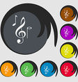 musical notes icon Symbols on eight colored vector image