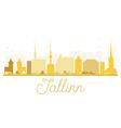 Tallinn City skyline golden silhouette vector image