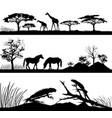 wild animals giraffes horses iguanas vector image