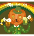 Cute StPatricks day background with cat vector image