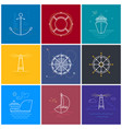 colored maritime elements in line style vector image