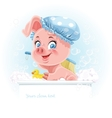 Pretty pink little piggy taking a bath and hold vector image