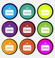 open icon sign Nine multi colored round buttons vector image