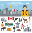 Flat icon set of Canada vector image
