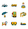 oil industry icons set cartoon style vector image