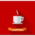 with coffee cup icon in flat design style with vector image