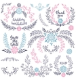 Hand drawn wedding collection with lettering vector image vector image