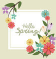 hello spring flower bouquet over green background vector image