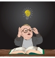 Great idea kid with book and bulb above his head vector image