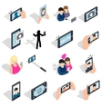 Selfie icons set isometric 3d style vector image