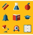Flat icon set Education vector image