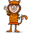 girl in cat costume cartoon vector image