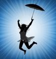 jumping woman with umbrella vector image