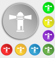 Lighthouse icon sign Symbol on eight flat buttons vector image