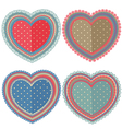 set of isolated vintage hearts vector image