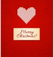Christmas knitting background with heart vector image vector image