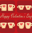 valentine day couple of cups red background vector image