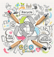 Eco concept thinking doodles icons set vector image