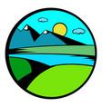 mountain lake with high mountain icon vector image