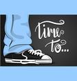 pop art cartoon man sneaker time vector image