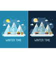Winter Travel Landscape with Ski Resort vector image