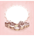 Pink retro background with hand drawn cakes vector image